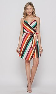 Image of striped casual short summer wrap dress. Style: LAS-BIG-21-PD4084 Detail Image 2