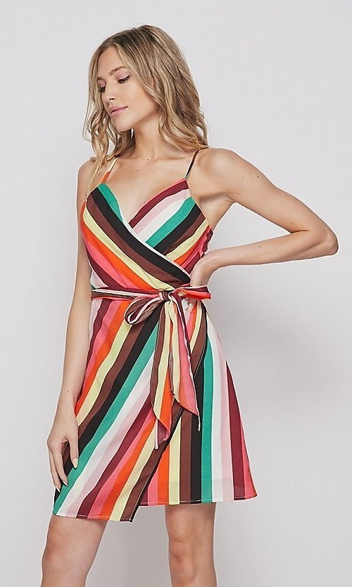 Image of striped casual short summer wrap dress. Style: LAS-BIG-21-PD4084 Detail Image 1