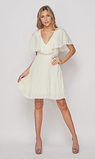 Short Pleated V-Neck Graduation Party Dress