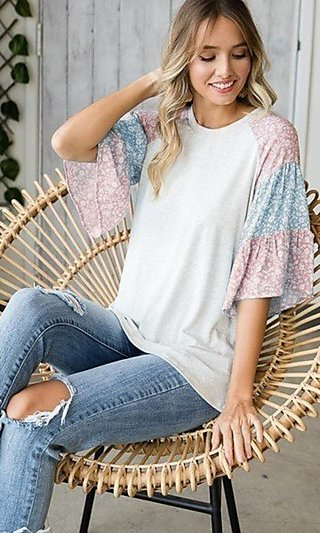 Women's Casual Shirt with Floral-Print Sleeves