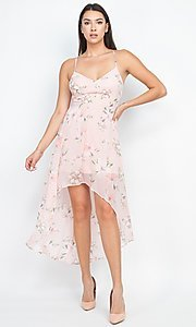 Image of floral-print high-low party dress with lace back. Style: LAS-IRI-21-BD04724-U1544 Detail Image 1