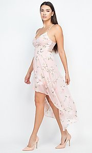 Image of floral-print high-low party dress with lace back. Style: LAS-IRI-21-BD04724-U1544 Detail Image 3