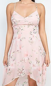 Image of floral-print high-low party dress with lace back. Style: LAS-IRI-21-BD04724-U1544 Detail Image 4