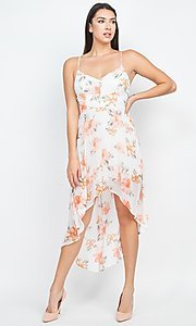 Image of floral-print high-low party dress with lace back. Style: LAS-IRI-21-BD04724-U1544 Front Image