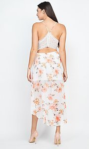 Image of floral-print high-low party dress with lace back. Style: LAS-IRI-21-BD04724-U1544 Back Image
