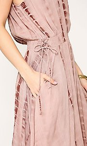 Image of pink tie-dye short casual dress with pockets. Style: LAS-GIG-21-TC1706 Detail Image 2