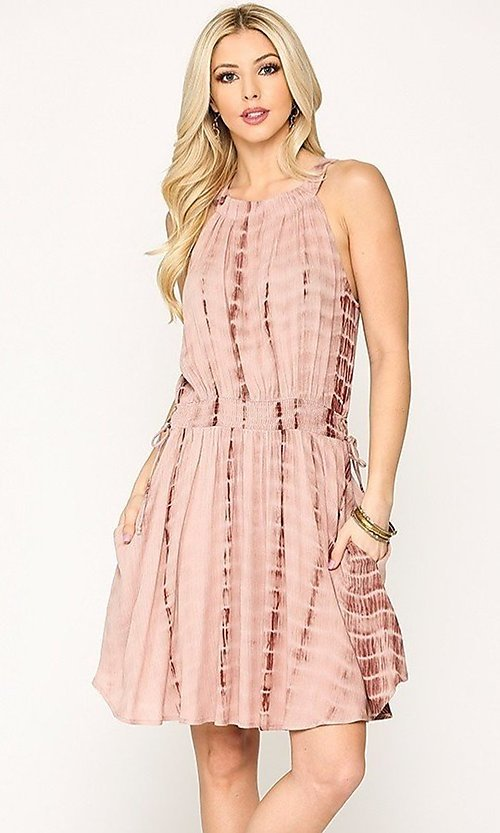 Image of pink tie-dye short casual dress with pockets. Style: LAS-GIG-21-TC1706 Front Image