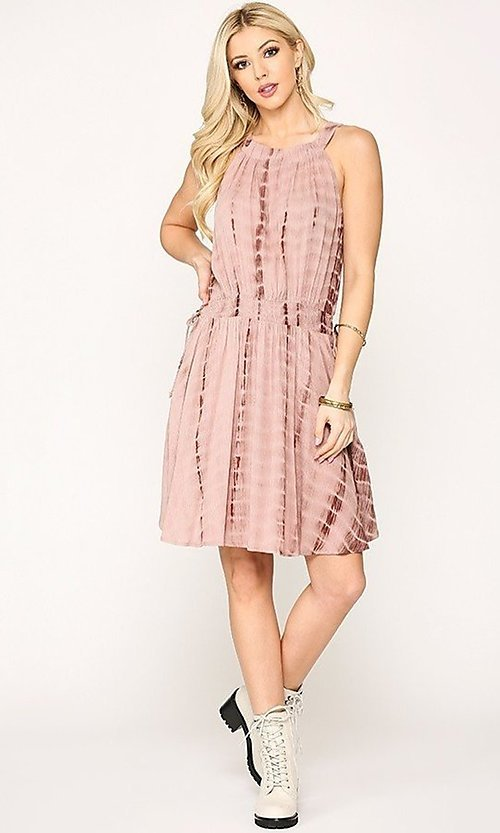 Image of pink tie-dye short casual dress with pockets. Style: LAS-GIG-21-TC1706 Detail Image 1