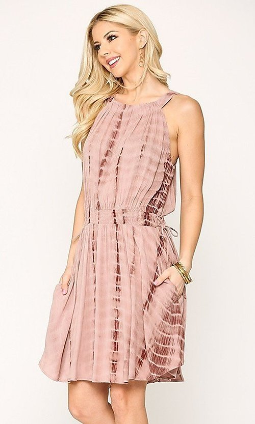 Image of pink tie-dye short casual dress with pockets. Style: LAS-GIG-21-TC1706 Detail Image 3