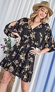 Image of floral-print short casual dress with sleeves. Style: LAS-EES-21-DK2779 Detail Image 3