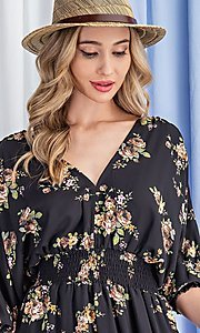 Image of floral-print short casual dress with sleeves. Style: LAS-EES-21-DK2779 Detail Image 6