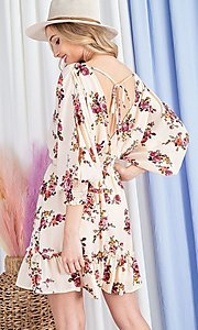 Image of floral-print short casual dress with sleeves. Style: LAS-EES-21-DK2779 Back Image