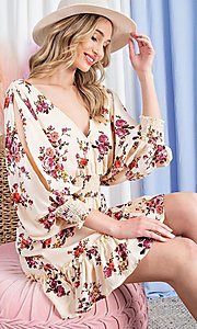 Image of floral-print short casual dress with sleeves. Style: LAS-EES-21-DK2779 Detail Image 1