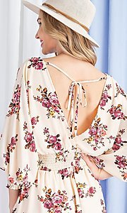 Image of floral-print short casual dress with sleeves. Style: LAS-EES-21-DK2779 Detail Image 2