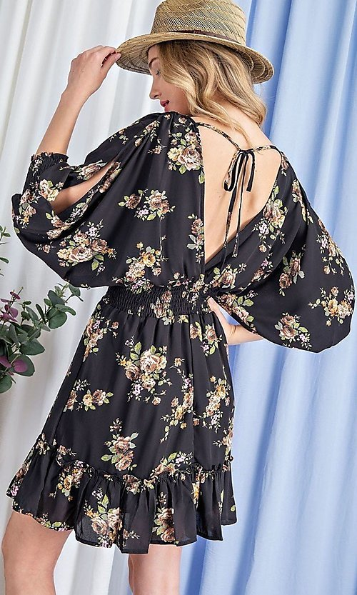 Image of floral-print short casual dress with sleeves. Style: LAS-EES-21-DK2779 Detail Image 4