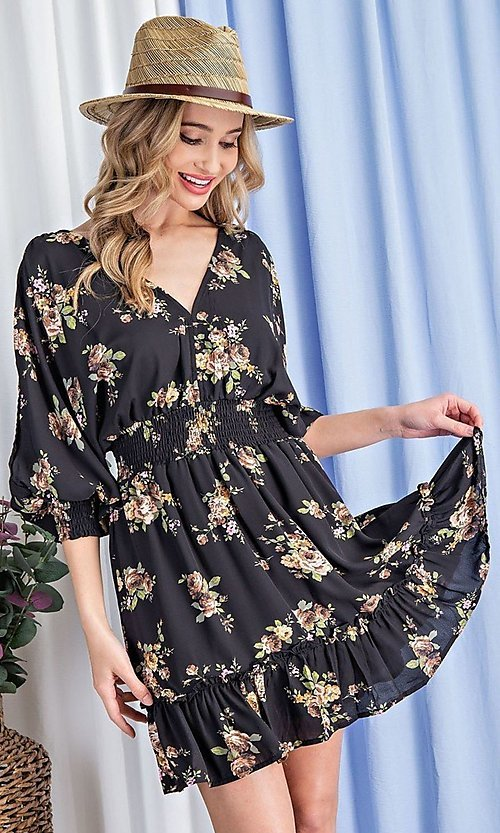 Image of floral-print short casual dress with sleeves. Style: LAS-EES-21-DK2779 Detail Image 5