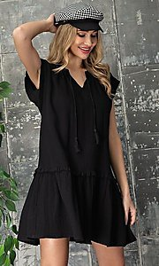 Image of short graduation party casual smock dress. Style: LAS-EES-21-DK4181 Detail Image 4