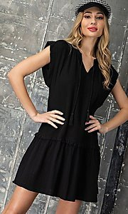 Image of short graduation party casual smock dress. Style: LAS-EES-21-DK4181 Detail Image 5
