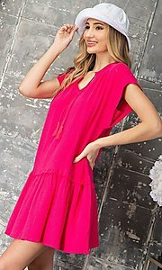 Image of short graduation party casual smock dress. Style: LAS-EES-21-DK4181 Detail Image 3
