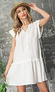 Image of short graduation party casual smock dress. Style: LAS-EES-21-DK4181 Front Image