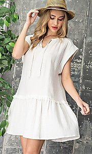 Image of short graduation party casual smock dress. Style: LAS-EES-21-DK4181 Detail Image 1