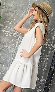 Image of short graduation party casual smock dress. Style: LAS-EES-21-DK4181 Detail Image 2