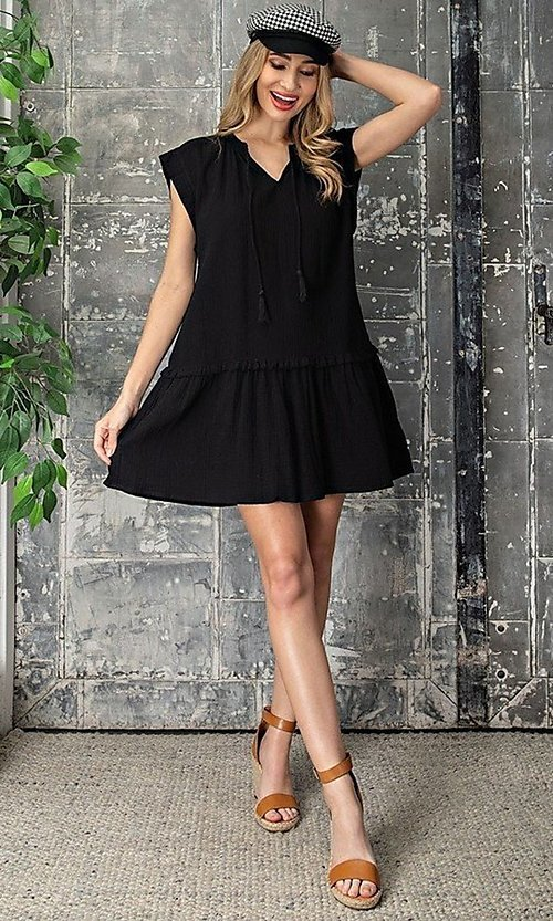 Image of short graduation party casual smock dress. Style: LAS-EES-21-DK4181 Detail Image 6