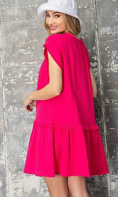 Image of short graduation party casual smock dress. Style: LAS-EES-21-DK4181 Back Image