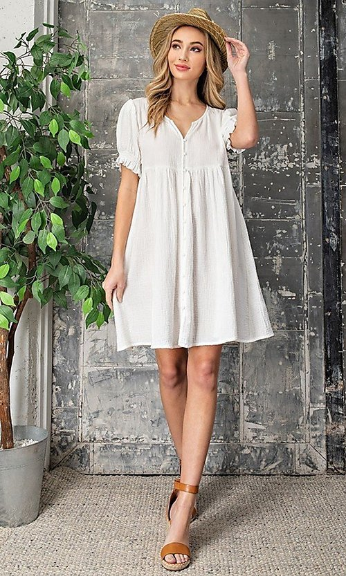Image of short off-white graduation party dress. Style: LAS-EES-21-DK4216 Front Image