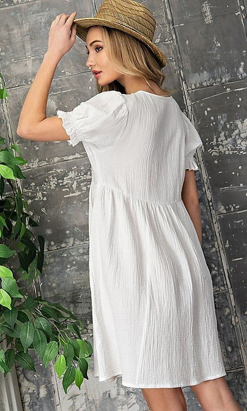Image of short off-white graduation party dress. Style: LAS-EES-21-DK4216 Back Image