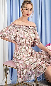 Image of off-the-shoulder short print casual party dress. Style: LAS-EES-21-DK4241 Front Image