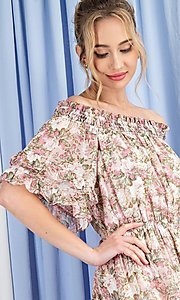 Image of off-the-shoulder short print casual party dress. Style: LAS-EES-21-DK4241 Back Image