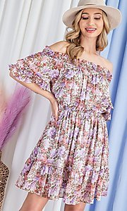 Image of off-the-shoulder short print casual party dress. Style: LAS-EES-21-DK4241 Detail Image 3