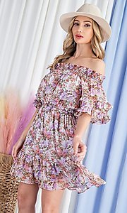 Image of off-the-shoulder short print casual party dress. Style: LAS-EES-21-DK4241 Detail Image 4