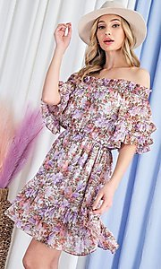 Image of off-the-shoulder short print casual party dress. Style: LAS-EES-21-DK4241 Detail Image 5