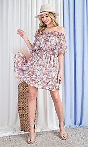 Image of off-the-shoulder short print casual party dress. Style: LAS-EES-21-DK4241 Detail Image 6