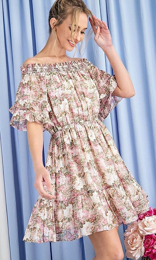 Image of off-the-shoulder short print casual party dress. Style: LAS-EES-21-DK4241 Detail Image 1