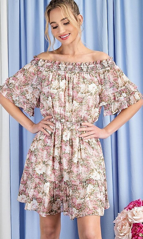 Image of off-the-shoulder short print casual party dress. Style: LAS-EES-21-DK4241 Detail Image 2