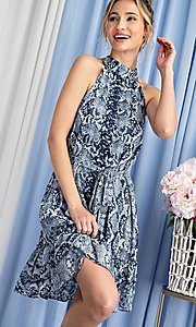 Image of blue snakeskin print high-neck wedding guest dress. Style: LAS-EES-21-DK4385 Detail Image 2