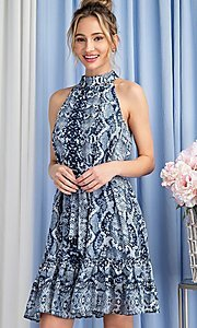 Image of blue snakeskin print high-neck wedding guest dress. Style: LAS-EES-21-DK4385 Detail Image 3