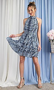 Image of blue snakeskin print high-neck wedding guest dress. Style: LAS-EES-21-DK4385 Detail Image 4