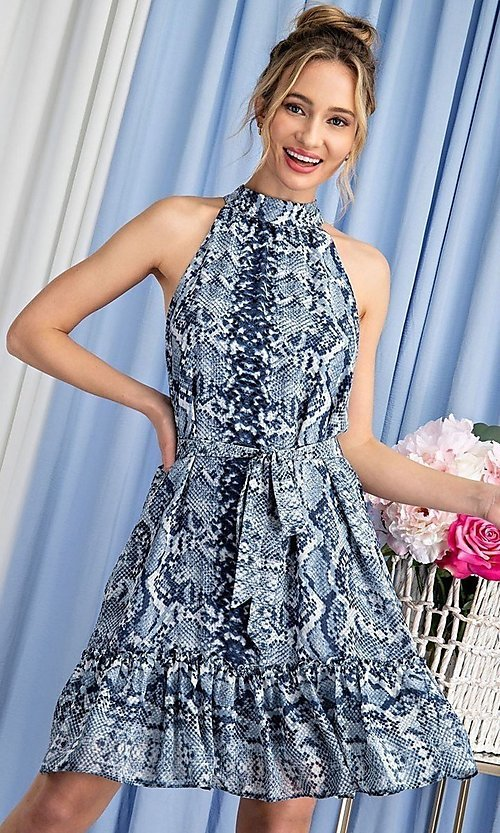 Image of blue snakeskin print high-neck wedding guest dress. Style: LAS-EES-21-DK4385 Front Image