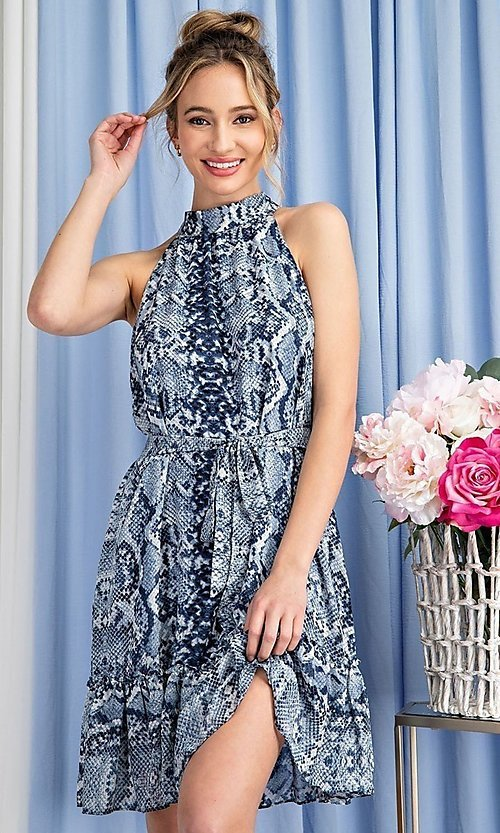 Image of blue snakeskin print high-neck wedding guest dress. Style: LAS-EES-21-DK4385 Detail Image 1