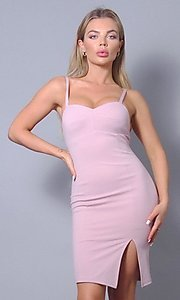 Image of sweetheart short tight wedding-guest party dress. Style: LAS-CEF-21-ID8414 Front Image