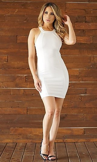 Open-Back Short Fitted Semi-Formal Party Dress