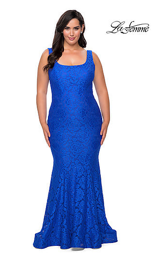 Allover Lace Plus-Size Long Mermaid Prom Dress