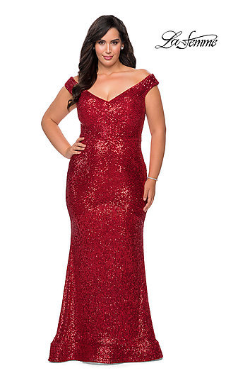 Mermaid Sequin Plus-Size La Femme Prom Dress