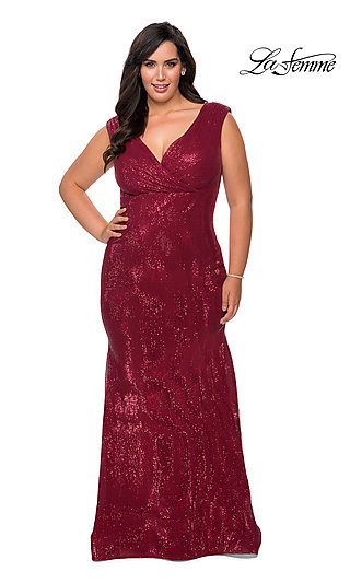 Empire-Waist Sequin Long Plus-Size Prom Dress