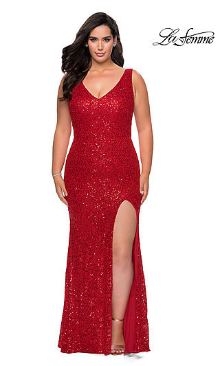Sequin-Embellished Lace Long Plus-Size Prom Dress