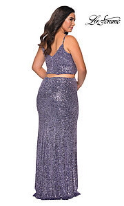 Image of plus two-piece long sequin prom dress by La Femme. Style: LF-21-P29026 Back Image